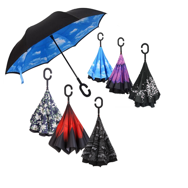 Зонт-наоборот умный зонт с кнопкой Принт