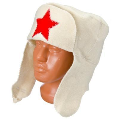 """Шапка банная п/шерсть, GC Design """"Ушанка"""" белая"""